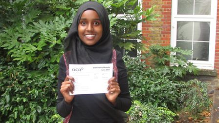 Werda Hersi gets her A-leve results at Hackney Community College
