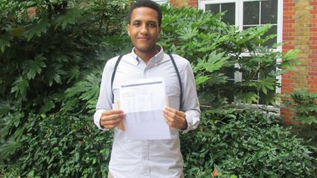Ishi Agozino gets his A-level results at Hackney Community College
