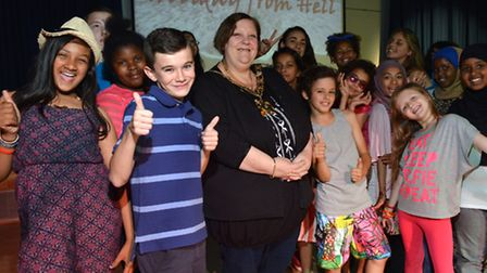 Mayor of Camden Cllr Larraine Revah meets children taking part in the performing arts class at STEM