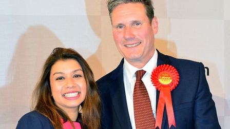 Tulip Siddiq and Sir Keir Starmer celebrate being elected as MPs in May. Picture: Polly Hancock.