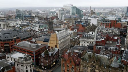 General view of Manchester city centre from the top of Manchester Town Hall