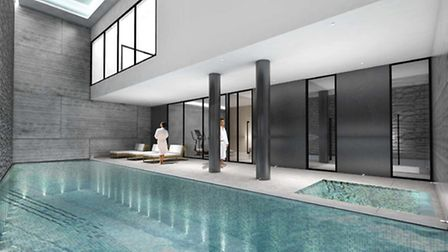 Visualisation of the proposed basement spa, complete with swimming pool and jacuzzi