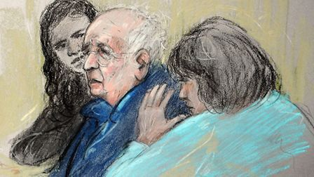 Court artist sketch by Elizabeth Cook of Lord Janner appearing at Westminster Magistrates Court with