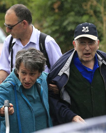 Lord Janner arrives home in Muswell Hill after his court appearance. Picture: PA/Jonathan Brady.