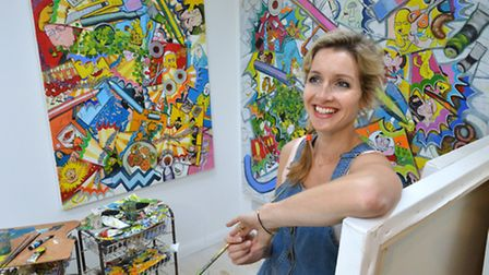 Celina in her studio, situated in a separate building at the bottom of the garden