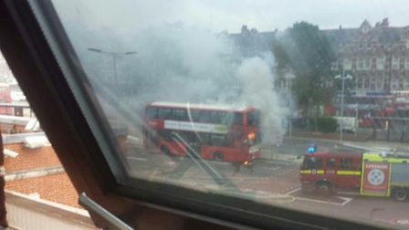 The bus on fire in Golders Green. Picture: Twitter/@ladytubedriver