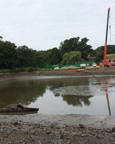 The mysterious car found at the bottom of the Model Boating Pond in Hampstead Heath. Picture: Floren