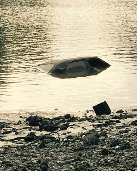 This car was discovered as they dredged the model boating pond