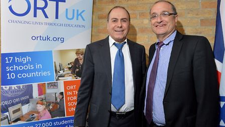 Israeli interior minister Silvan Shalom with Shmuel Sisso, director general and CEO of ORT UK during