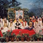 The Beatles and their wives at the Rishikesh in India with the Maharishi Mahesh Yogi, March 1968. Ph