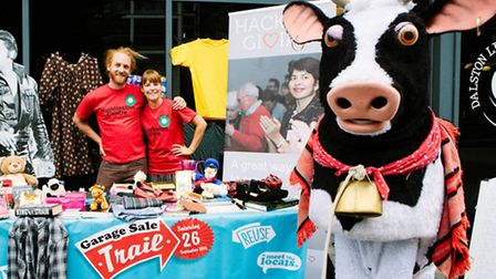 Buttercup the Hackney Empire�s panto cow visited the Garage Sale Trail preview in Dalston Square