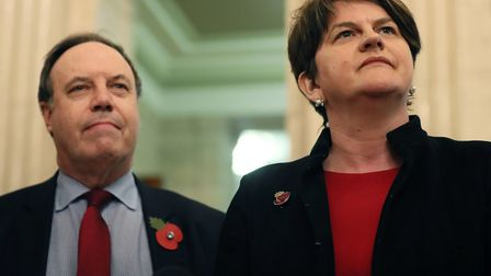 DUP leader Arlene Foster and deputy leader Nigel Dodds who are angered by what they see as borken pr