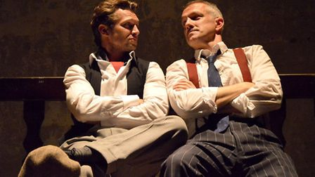 Ross Forder as Hooker and Bob Cryer as Gondorff in The Sting at Wilton's Music Hall