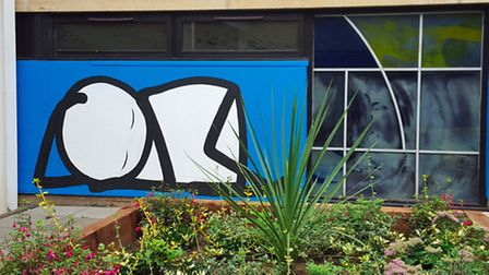 Stik's baby mural which willl be replicated on the screen prints