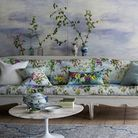 Photo of the Cielo wallpaper, 213 per roll; sofa in Caprifoglio linen in Sky, 75 a metre, available