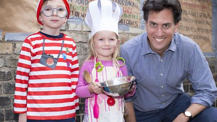 Ed Miliband with fancy dress kids Jake Young aged 5 and Milena Blackburn aged 5