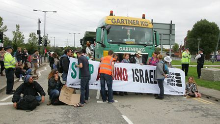The Campaign Against Arms Trade is protesting against the DSEI arms fair