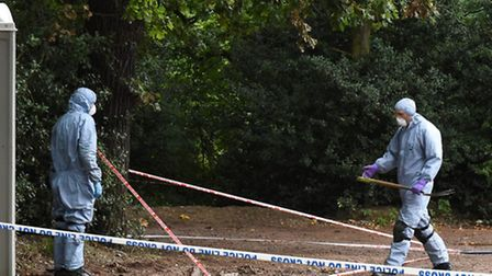 Police forensic teams searching Epping Forest by Hollow Ponds following the discovery of a body