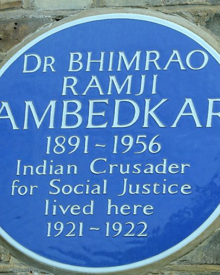 The plaque outside the house dedicated to Dr Ambedkar. Picture: Polly Hancock