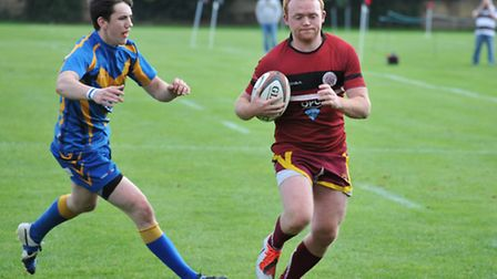 Joe Crossman on his way to the try-line for UCS Old Boys. Pic: Nick Cook