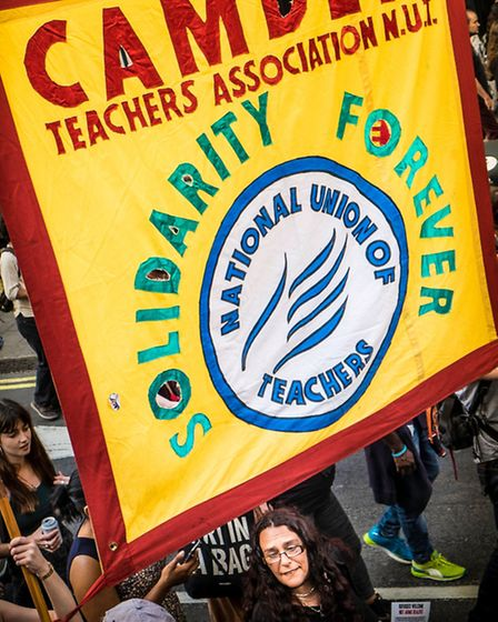 Camden teachers showed their solidarity with refugees (picture: Linda Grove)