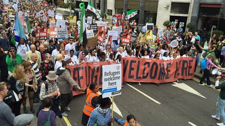 Camden and Barnet families joined thousands at the refugee march (picture: Linda Grove)