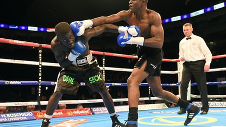 Ohara Davies (right) defeated Dame Seck at the O2 Arena. Pic: Philip Sharkey/TGSPhoto
