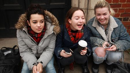 Lily Dryden, left, with friends Elenor Tennison and Daisy Bertenshew, of Fortis Green, Haringey