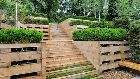 Steps leading up to the garden in Pink Floyd's former home