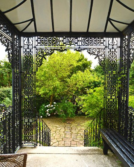 Wrought iron porch in the Holly Terrace property