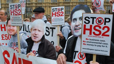 Anti-HS2 campaigners from Camden join hundreds in protest outside parliament on Monday. Picture: Pol