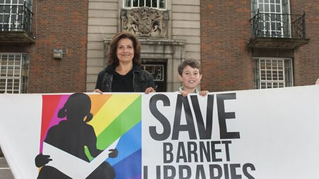 Actress Rebecca Front stands united with 10-year-old library campaigner Ralph Vincent to launch the