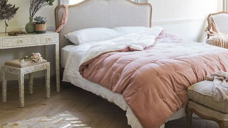 Kingsize Bed, �1,495, Armchair, �695, Footstool, �395, The Antoinette Collection; White Mother of Pe