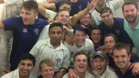 Hampstead celebrate after winning the Middlesex County League title for the second time in three sea