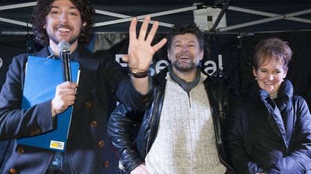 Alex Zane, Andy Serkis and actress Lorraine Ashbourne switch on the lights at last year's Highgate C