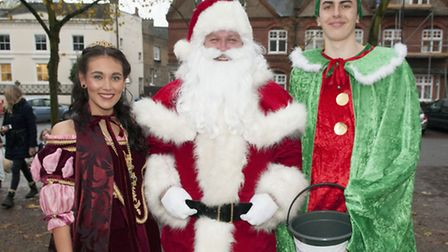 Father Christmas with Princess of Highgate Kitty Underhill and elf Laurie Magnus at last year's High