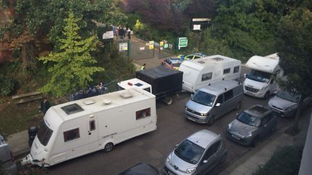 Travellers arriving at the Liddell Road industrial estate Picture by local resident, 'Jon'