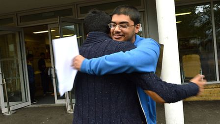 Haverstock School pupils celebrate their GCSE results in August. Picture: Polly Hancock