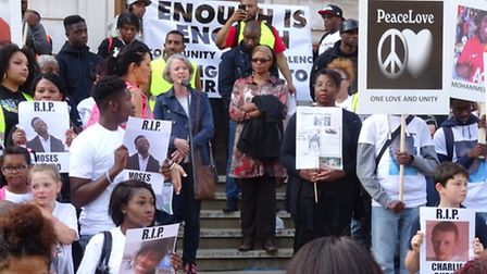 The peace march finished with a rally at Hackney Town Hall. Photo Cllr Ian Rathbone