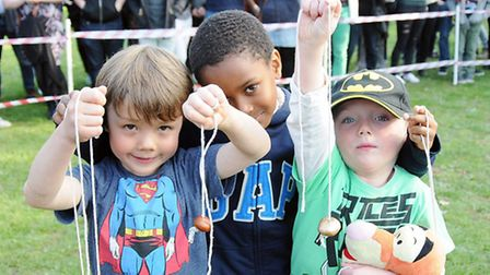 Conker champions from left are Albert 5, Addison 7, Trey 4. Picture: Dieter Perry