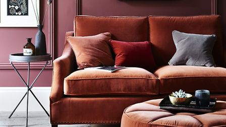 Eva Sofa in Fox, from �1,975, Pouffe upholstered in Fox, �40 per metre, selection of cushions in Dar