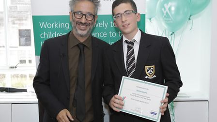 Comedian David Baddiel with highly commended Young Person of the Year James Curtis. Picture: Richard