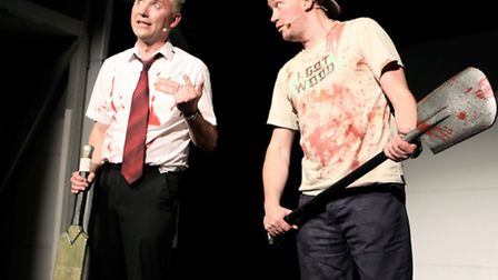 Chas Burns as Shaun and Ross Millward as Ed in Shaun of the Dead Live. Picture: Kim Carter