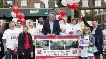 "Actor Jim Carter joins the ""Stop the Blocks!"" campaign demonstration in West Hampstead"