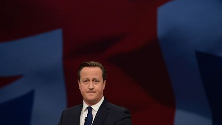 Prime Minister David Cameron addresses the Conservative Party conference in Manchester