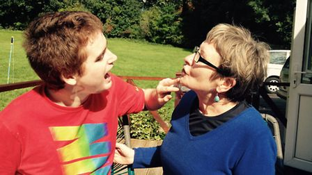 Mary Langan with her son James. She has hit out over Haringey Council's new video promoting the boro