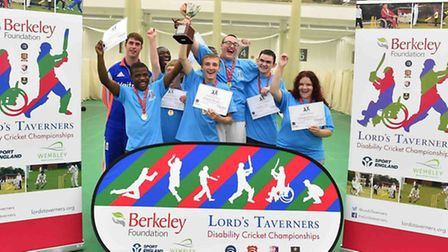 The victorious Hackney squad at the Lord's Taverners Disability Cricket Championships
