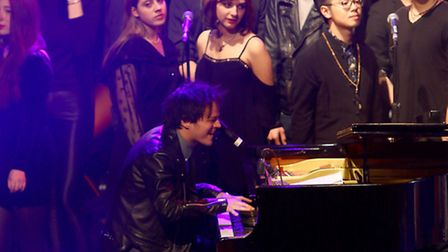 Jamie Cullum performs with the Roundhouse choir. Picture: David M. Benett