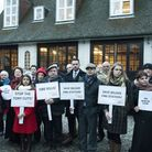 Demonstrators outside Belsize Fire Station protesting against the station closure last year. Picture