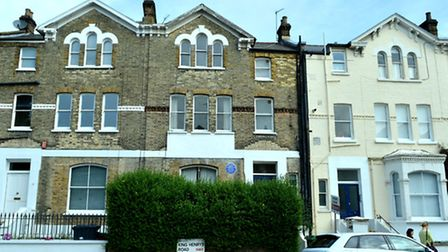 The house where Dr Ambedkar lived (with the blue plaque). Picture: Polly Hancock